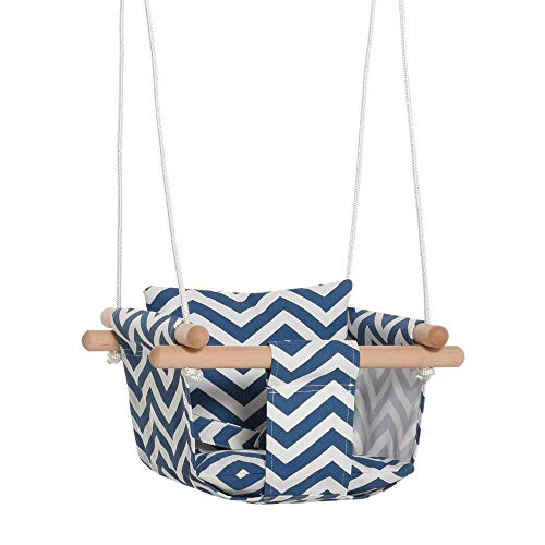 Outsunny Seggiolino Altalena per Bambini in Tessuto e Legno con Cuscino, per Casa e Giardino, 40x40x180cm Blu e Bianco