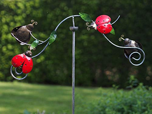 Thermobrass Windspiel Wippe aus Metall - Gartenfigur Gartendeko - Marienkäfer Käfer - XXL 130x5x60cm - exkl. Handarbeit - jeder Artikel EIN Unikat - MD16111