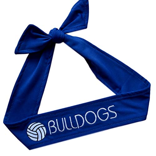 Funny Girl Designs Volleyball TIE Back Moisture Wicking Headband Personalized with The Embroidered Name of Your Choice (Royal Blue Tie Back)