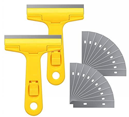 Glass Scraper Razor Blade,Razor Blade Scraper,Paint Scraper,Window scraper for Remover Tool Remove Surface Stains,Paint,Automotive Glass Film(4 inch-2 Handle + 20 Pack Replacement Blades)