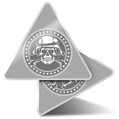 2 x Triangle Stickers 10cm - BW - Army Soldier Skull Military Forces Fun Decals for Laptops,Tablets,Luggage,Scrap Booking,Fridges,Cool Gift #40198