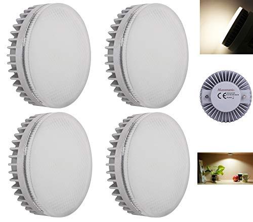 Masonanic - Bombillas LED GX53 CFL de repuesto de luz blanca natural 4000 K 9 W GX53 LED para debajo del gabinete de cocina, armario, escaparate, iluminación no regulable 4000 K
