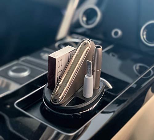 Cup charger para IQOS® 3 negro, Compatible con IQOS® 3, cargador para cigarrillos electrónicos IQOS®, con cenicero y alojamiento para el limpiador y limpiador IQOS®, portavasos para auto