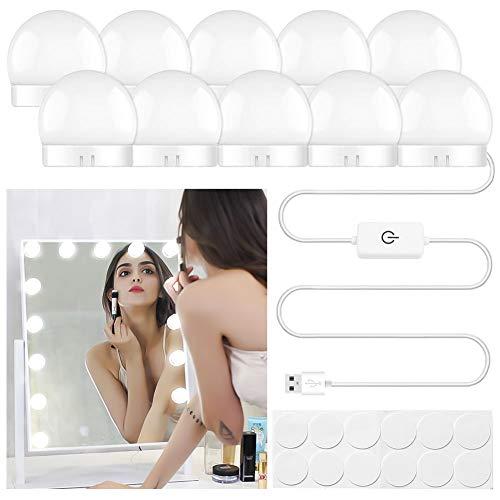 Phiraggit Kosmetikspiegelleuchten, einstellbare Helligkeit im Hollywood-Stil, Beleuchtungsstreifen mit 10 LED-Glühbirnen für Make-up-Schminktisch im Ankleidezimmer (Spiegel nicht inbegriffen)
