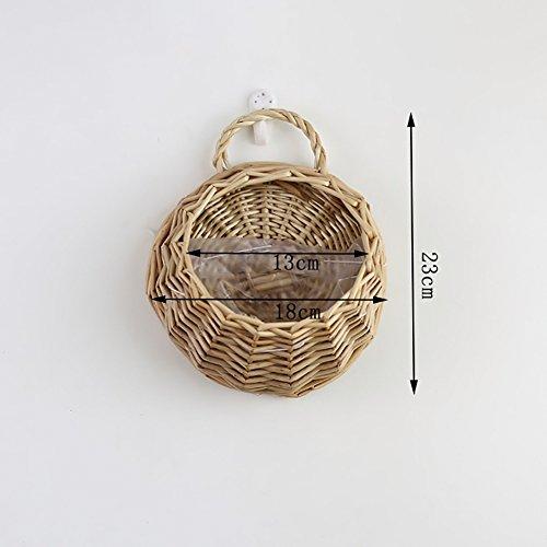 Pueri Panier de fleurs en rotin Pot de fleur en osier fait à la main Jardinière suspendue Seau à pommes de terre Organisateur de stockage Conteneur alimentaire Décoration murale (S, Kaki)