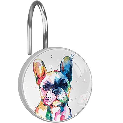YUEND Round Hangs Rings Rustproof Stainless Steel Decorative Bathroom Set of 12 Shower Curtain Hooks Watercolor French Bulldog Animal Hipster Crystal Glass