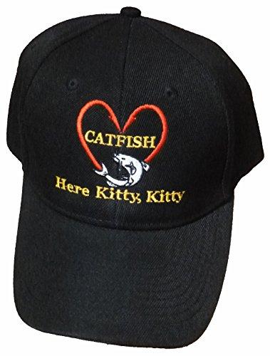 Baseball Cap with Catfish, Black Fishing Hat Gift Dad Fishermen Women