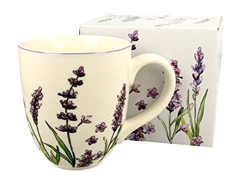 Duo Taza grande XXL de lavanda, decoración folclórica, 900 ml, porcelana, vaso para smoothies, regalo de oficina, taza para café, taza de té, capuchino, taza jumbo taza gigante XXXL