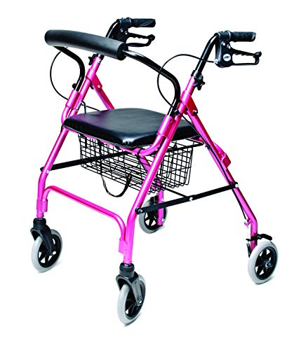 Lumex Walkabout Lite Four Wheel Rollator, Pink by Lumex