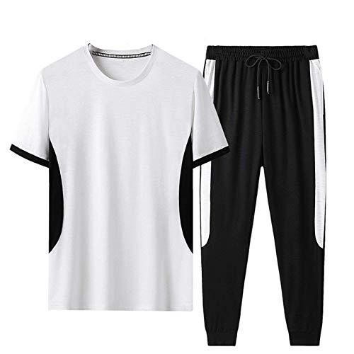 Geagodelia Tuta Uomo Casual 2 Pezzi T-Shirt + Pantaloni Tuta Estiva Maniche Corte Girocollo Set Completo Sportivo Maglietta S-3XL Jogging Corso Palestra (Bianco, X-Large)