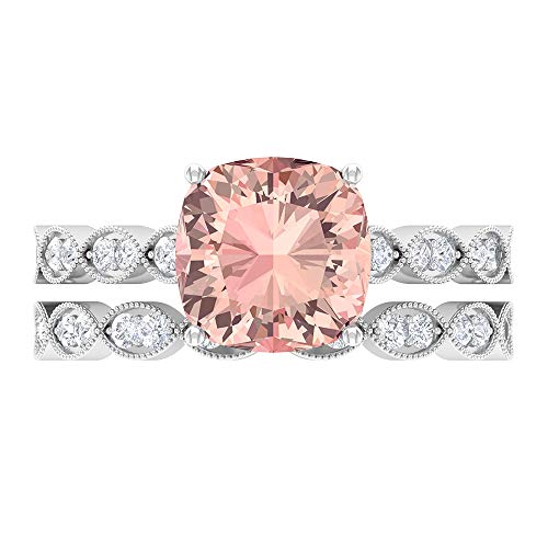 Solitaire Hexagon Ring, Gold Bridal Ring Set, 3.01 CT Gemstones, D-VSSI Moissanite 8.50 MM Lab Created Morganite Cushion Cut Ring, Art Deco Ring, White Gold, Morganite Lab Created, Size:UK F1/2