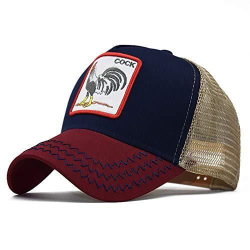 Bonfor Gorras de Hombre Baratas Animales de Malla Respirable, Gorras de Hombre Beisbol Vintage Bordado, Sombrero Mujer Verano Unisex Adulto (Gallo/Vino Tinto, Circunferencia:54-60 cm)