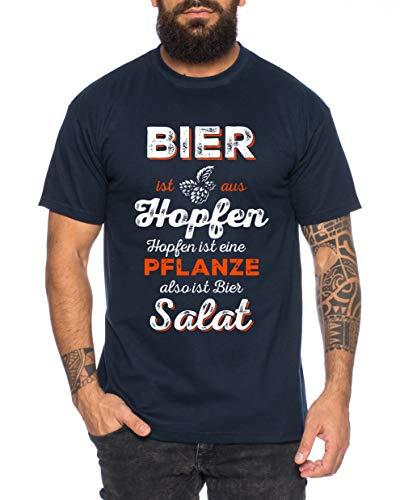 Bier ist Salat Herren T-Shirt Cooles lustiges Fun-Shirt, Farbe:Dunkelblau, Größe:3XL
