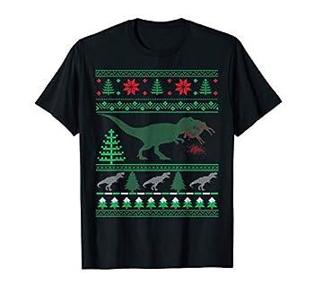 dinosaur eating reindeer sweater