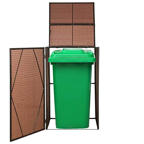 vidaXL Mülltonnenbox 1 Tonne Poly Rattan Braun Mülltonnenverkleidung Müllbox