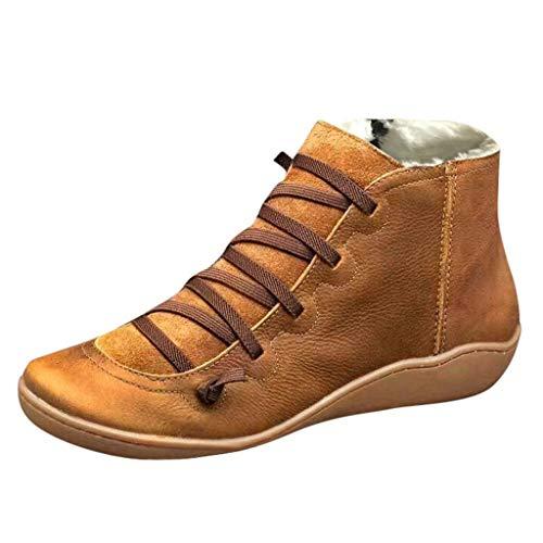 Yowablo Boots Damen Casual Flache Leder Retro Schnürstiefel Seitlicher Reißverschluss Runde Kappe Plus Samt (40 EU,Plus Samt-Braun)