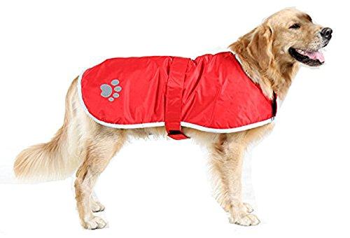 Vivi Bear Manteau d'hiver réfléchissant pour chien 100 % polyester, imperméable, coupe-vent, durable, doux et confortable, 8 tailles, vert olive et orange (rouge, XXL)