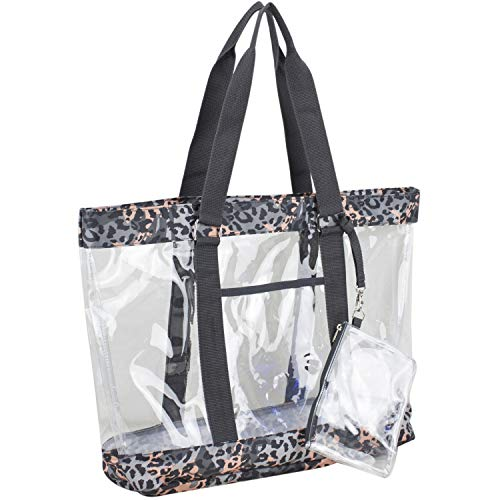 Eastsport Supreme Deluxe 100% Clear PVC Printed Large Tote with Free Large Wristlet, Clear/Blush/Cheetah Tie Dye Print