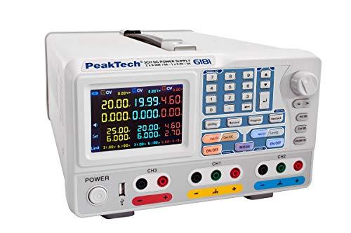 Peaktech P 6181 - Fuente De Alimentación Para Laboratorio (2 Canales, 0-30 V, 0-6 A, Con Pantalla Tft A Color, Registro De Datos, Seriell, Paralelo Y Plus-Minus, Programas De Tiempo 15 W, 240 V)