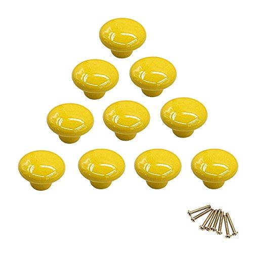 10 Rund bunt Keramik Schrank Knöpfe Single Loch Pull Griff für Schublade, Kommode, Schrank, Tür gelb