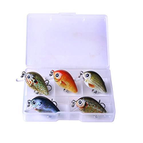 1 Set Mini Crank Fishing Lure Chubby Spinner Topwater Bait Crankbait 3D Eyes Hard Baits Bass Water Minnows Fishing Tackle - Multi-Color Mixed - 1Size(BCVBFGCXVB)