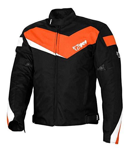 Jet Motorradjacke Motoradkleidung Rollerjacke Mopedjacke Herren Mit Protektoren Textil Winddicht Leicht Basic ECONOTECH (S (EU 46-48), Orange)