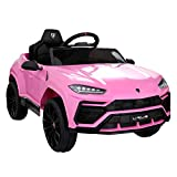 BWM.Co 12V Kids Ride On SUV Vehicle Licensed Lamborghini Urus Electric Toy Car w/Remote Control, Music, Horn, USB, SD Card, Spring Suspension - Pink
