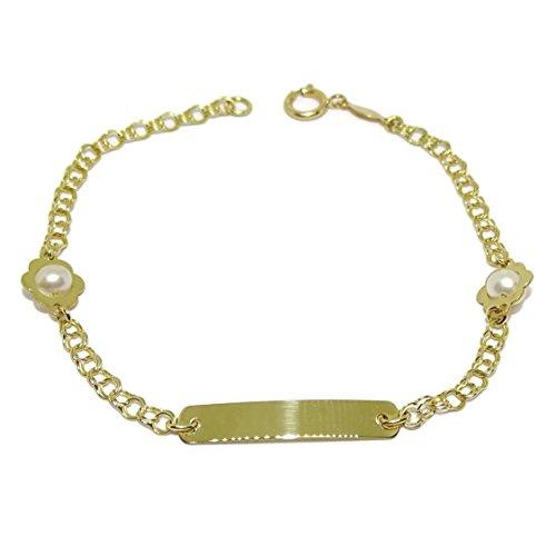 Never Say Never Pulsera de Oro Amarillo de 18kts para niña Ideal para comunión con Perlas cultivadas de 4.5mm 17.50cm