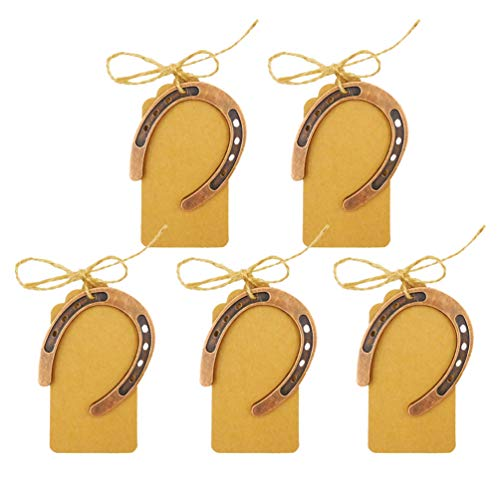 STOBOK 5 Juegos de Favores de La Boda de La Herradura de La Buena Suerte para Los Huéspedes Favores de La Herradura de La Vendimia con Etiquetas Kraft para Decoraciones de La Fiesta de