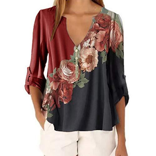 Frauen Beiläufig Tops Shirt Damen V-Ausschnitt Blumendruck Lose T-Shirt Bluse T-Shirt Top