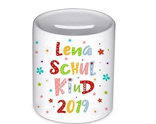 Schulkind 2020, Spardose, mit Namen, für Kinder, Geschenk zur Einschulung, Schulanfang, Sparschwein, Geldgeschenke,