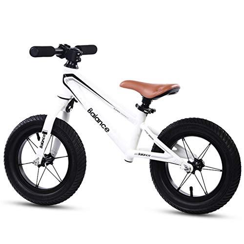 Laufräder Balance Bike 4 Year Old - Mini Early Rider Push Bike für Kindermädchen, 12 Zoll Luftreifen, Weiß Schwarz (Color : White)