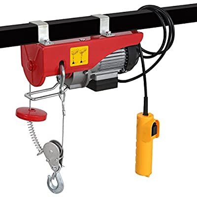 440/880LBS Electric Hoist Lift 110V Overhead Electric Wire Hoist Crane Garage Auto Shop w/Remote Control