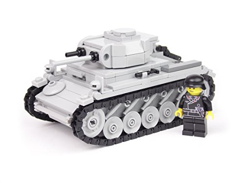 BricksStuff Tanque Panzer II Ausf. F con Figura I Soldado alemán de la Segunda Guerra Mundial, Custom Accesorios de BrickArms | Kit con Instrucciones | Compatible con Lego®