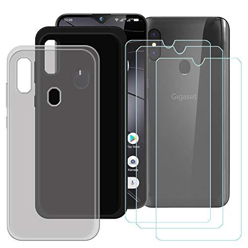 DQG Panzerglas + Hülle für Gigaset GS290,2 Pack Semi-Transparent Grau + Schwarz Cover TPU Handyhülle Silikon Tasche Hülle Schutzhülle - 3 Stück Gehärtetes Glas Schutzfolie für (6.3