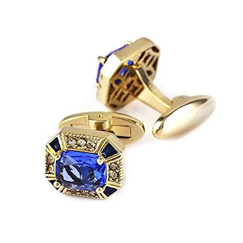 KnBoB Herren Manschettenknöpfe Oval Zirkonia Gold Manschettenknöpfe mit Geschenk Box Geschäft Hochzeit Zubehör