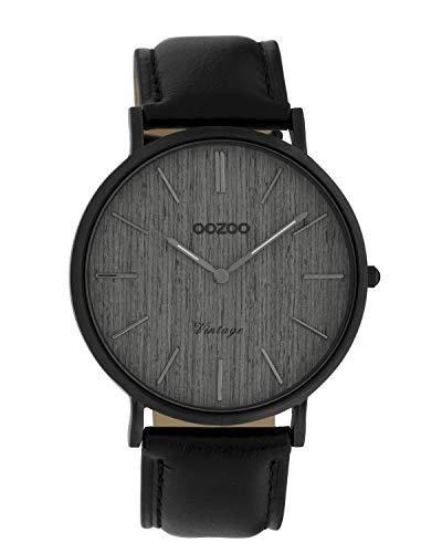 Oozoo Vintage Damenuhr Lederband Wood 40 MM Black/Grau Holz/Schwarz C9869
