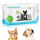 Dog Wipes, Deodorizing Hypoallergenic Pet Wipes for Dogs & Cats, 100% Fragrance Free, Natural & Friendly Pet Grooming Wipes for Cleaning Faces Bums Eyes Ears Paws Teeth (100PCS Dog Wiipes)