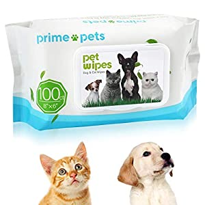 Pet Wipes for Dogs & Cats, Deodorizing Hypoallergenic Dog Wipes, 100% Fragrance Free, Natural & Friendly Pet Grooming Wipes for Cleaning Faces Bums Eyes Ears Paws Teeth, 100Count Per Pack