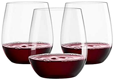 12 20oz Plastic Wine Glasses   Stemless Wine Cups - Clear Plastic Unbreakable Wine Glasses Disposable Reusable Shatterproof Recyclable and BPA-Free