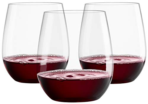 12 20oz Plastic Wine Glasses | Stemless Wine Cups - Clear Plastic Unbreakable Wine Glasses Disposable Reusable Shatterproof Recyclable and BPA-Free