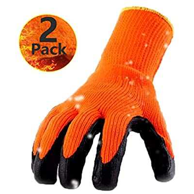 Cold Weather Work Gloves 2 Pack, Superior Grip Coating Polar Fleece Liner Thermal Comfortable for Winter Outdoor Garden Construction Ice Snow Utilities - Colorful