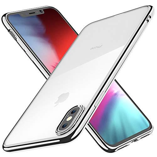 Funda para iPhone XS, Funda para iPhone X, Joyguard Carcasa para iPhone XS/X Transparente Cristal Silicona Suave Delgado Flexible TPU con Parachoques de Efecto Metálico-5.8'-Plata
