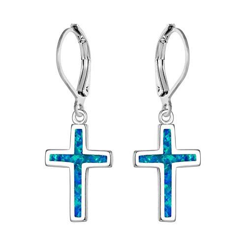 Pendientes De Cristal Pendientes 925 Pendientes Cruzados Azules Simples Pendientes Clásicos De La Suerte Pendientes