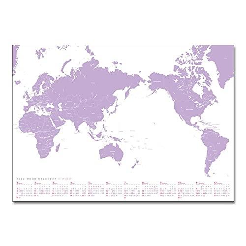 ムーングラフィックス 2022年 ムーンカレンダー ポスター 世界地図 パープル CP202206b