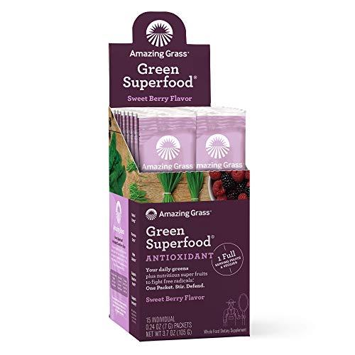Amazing Grass Green Superfood Antioxidant: Super Greens Powder with Spirulina, Elderberry & Probiotics, Sweet Berry, 15 Servings