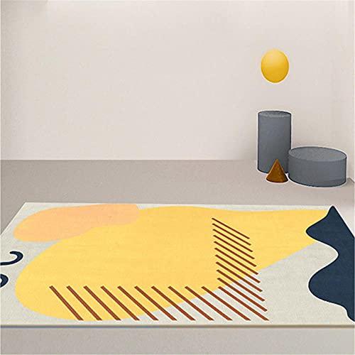 CCTYJ Amarillo Abstracto patrón Creativo Arte Moderno Antideslizante Suave Accesorios de hogar Sala de Estar Sala de Estar Sala de Estar alfombra-120x160cm Alfombra económica con diseño Moderno para