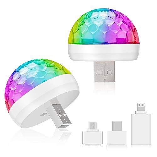 [2 Stück] MIMIVIVA USB Mini Disco Lichter, Party Lichter Magic Disco Ball Licht, Sound aktiviert Bunte Strobe LED Lichter mit 3 Steckern für KTV DJ Stage Atmosphere Weihnachtsfeier Innenbeleuchtung