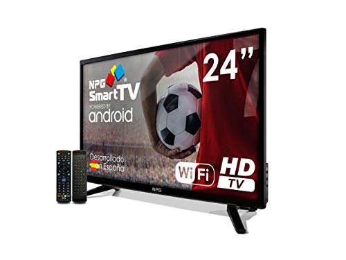 """Televisor LED 24"""" NPG Smart TV Android + Smart Control QWERTY/Motion. HD PVR WiFi TDT2 H.265"""