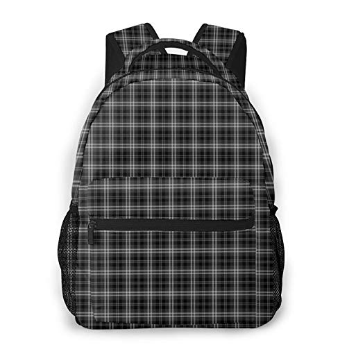 Frieneo Lightweight commuter backpack Black and White Tartan Large casual day backpack outdoor travel rucksack hiking unisex multifunctional backpack